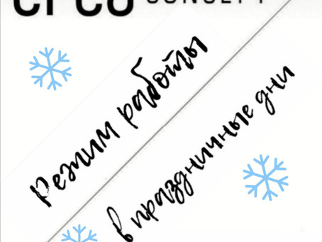Режим работы наших бутиков в предпраздничные дни и новогодние каникулы!