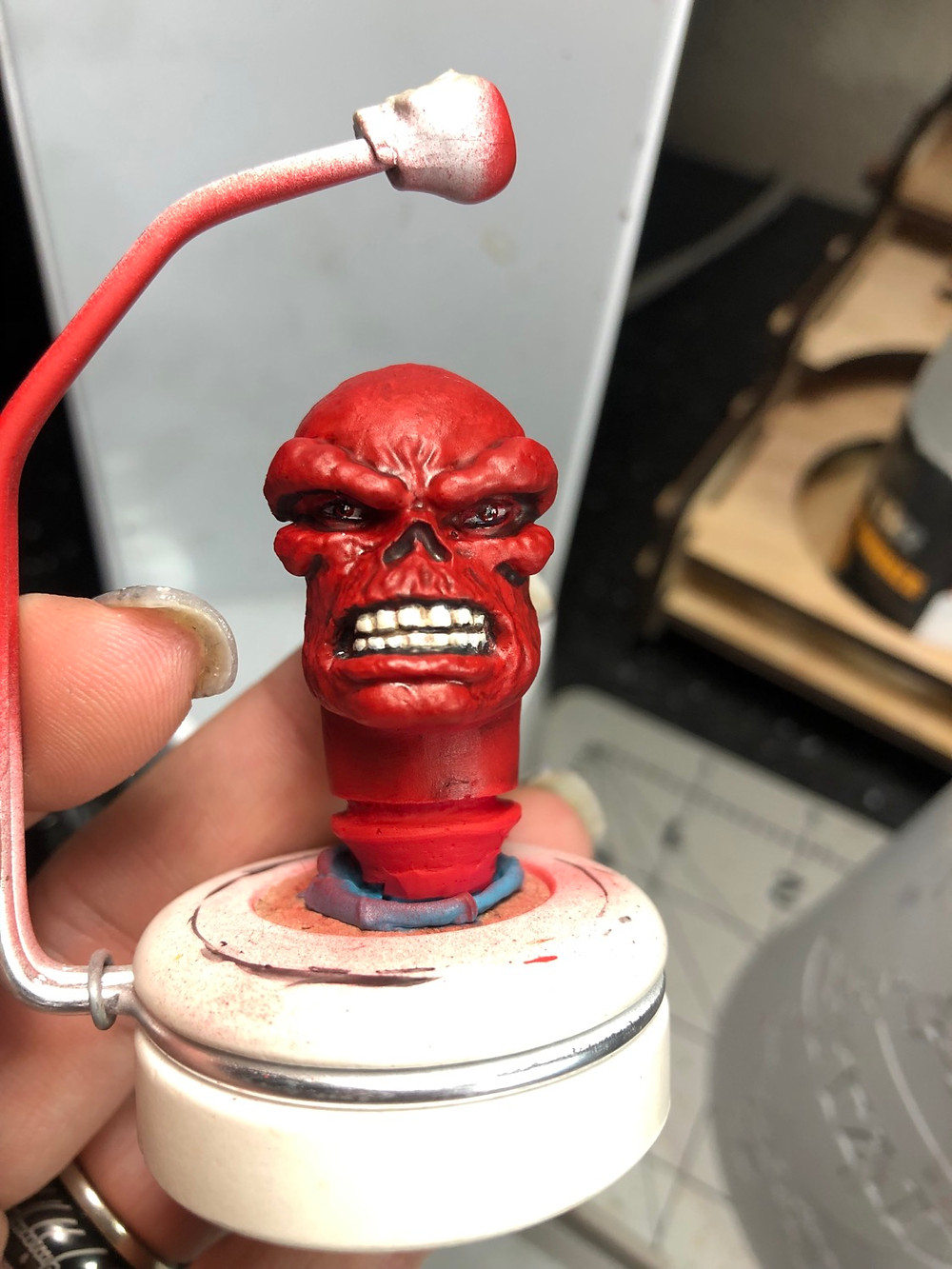 Completed Mego Red Skull head