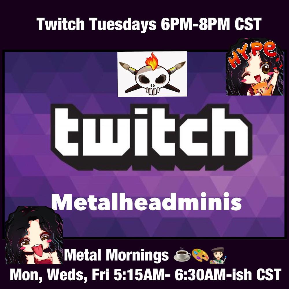 Metalhead Minis Twitch Schedule, 2019