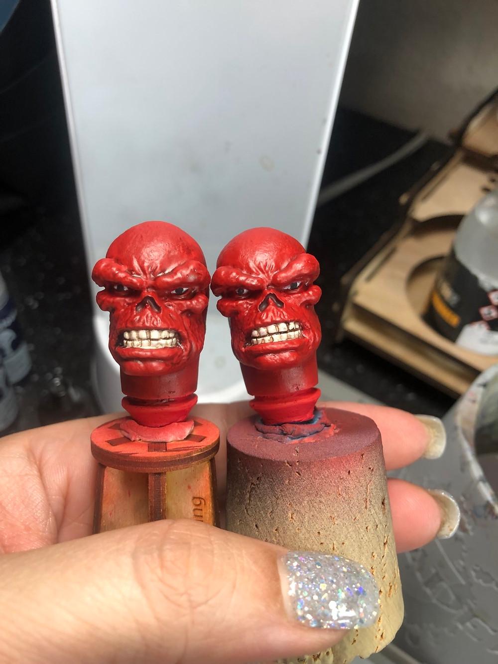 Start of painting eyes on Mego heads