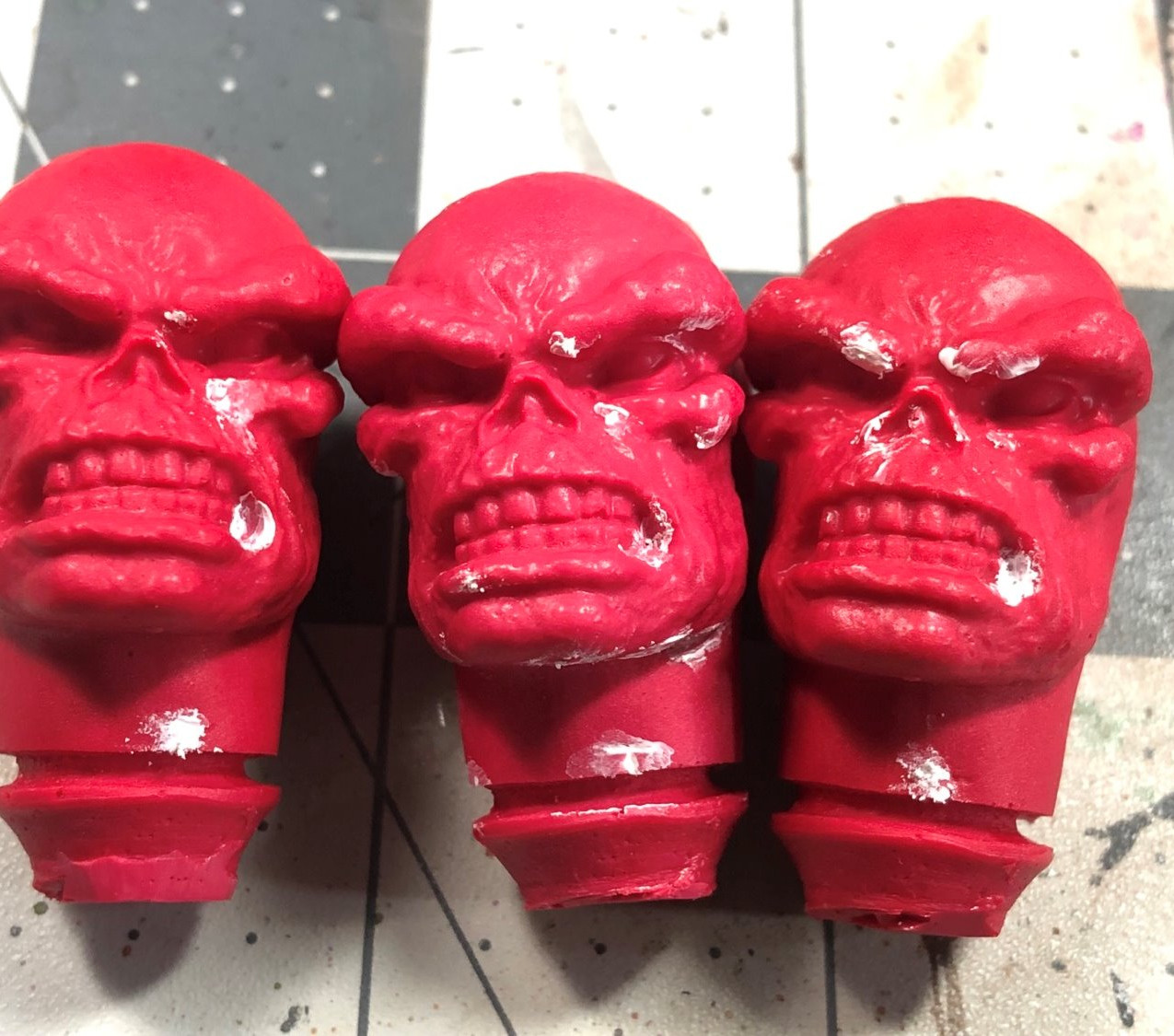 3 Mego Heads with putty