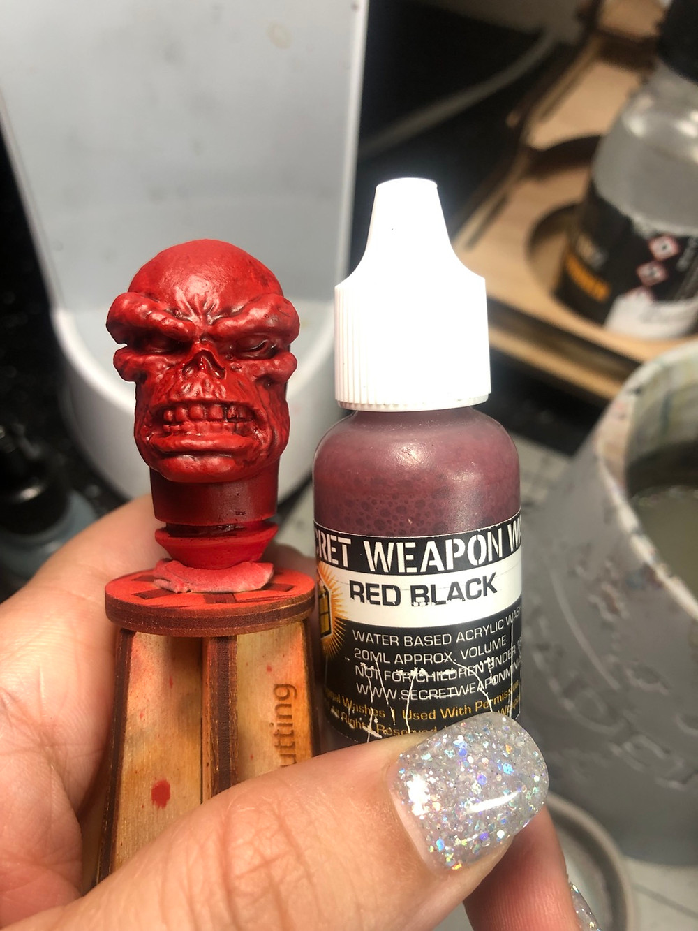 Mego Red Skull head with Secret Weapon Wash in Red Black