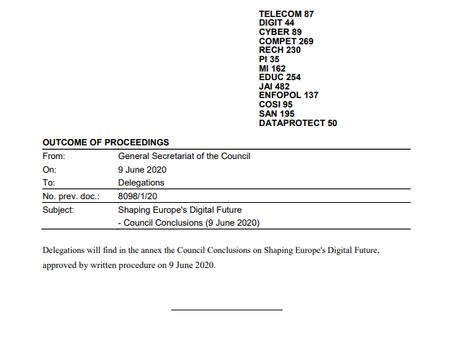 Council of European Union Document 9.6.2020
