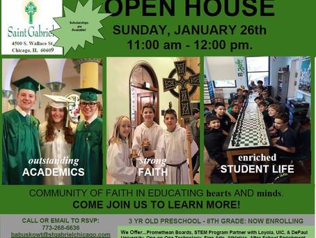 Mass,Open House & Bingo this Sunday, January 26th