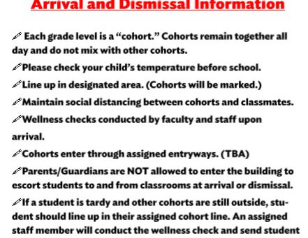 Arrival Dismissal Parent Update
