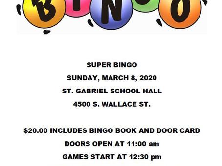 SUPER BINGO THIS SUNDAY!