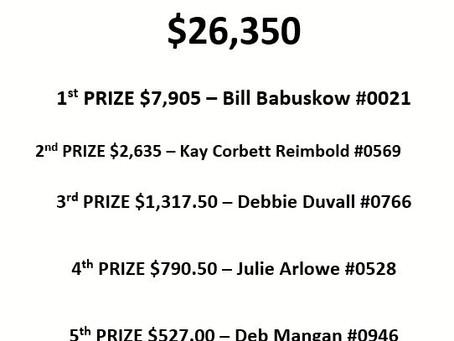 Spring Super 50/50 Cash Raffle Winners!!!