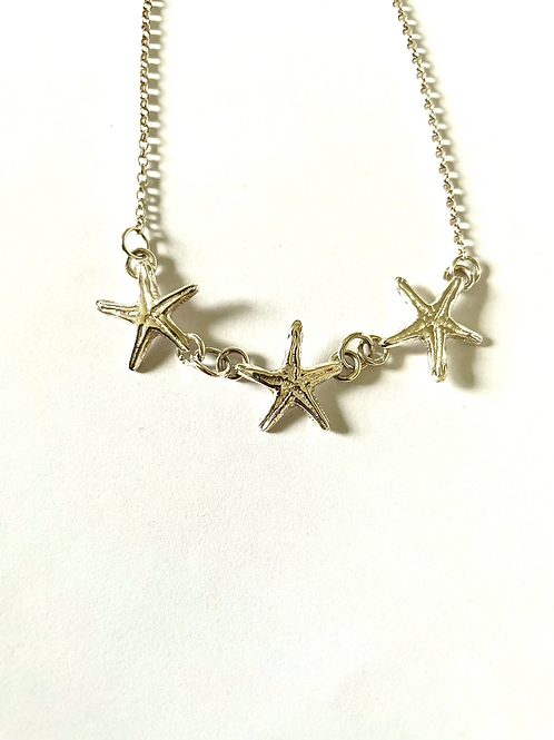 Sterling Silver Triple Starfish Pendant