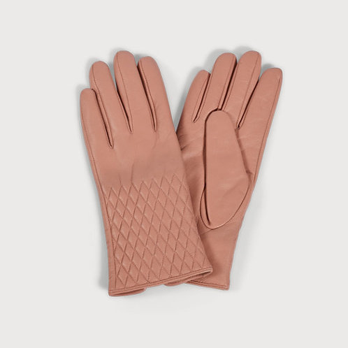 Leather Quilted Gloves ( Blush)