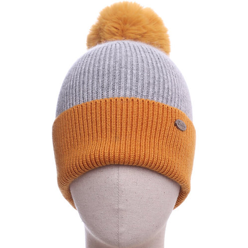 Bobble Hat -Grey with Mustard