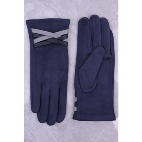 Grey Gloves with faux leather detail