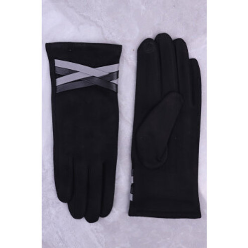 Navy Gloves with faux leather detail