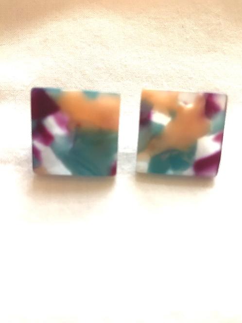 Resin Multicolour Square Earrings