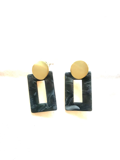 Resin Drop Grey Earrings