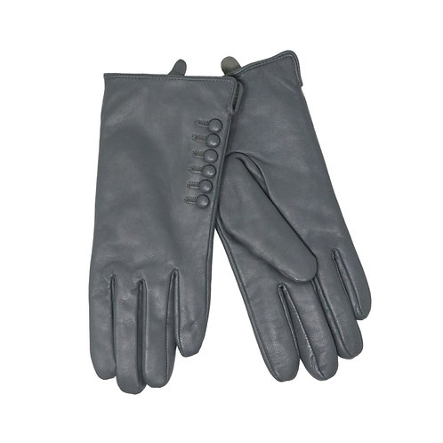 Leather Button Detailed Gloves(Grey)