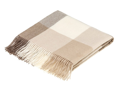 Bronte 100% Alpaca Throw (Cream with Brown)