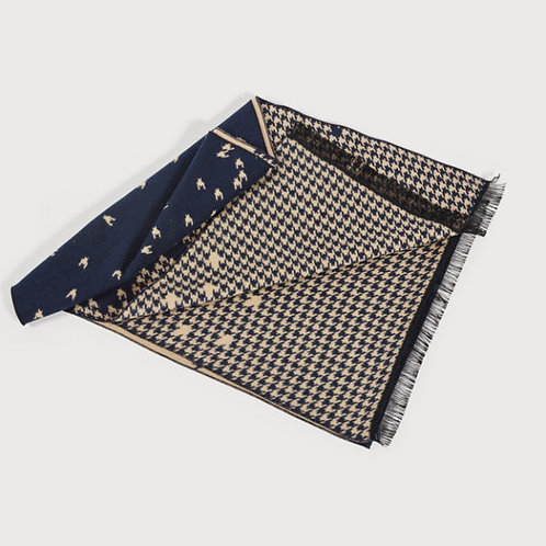 Mens Dog Tooth Scarf ( Camel and Navy)