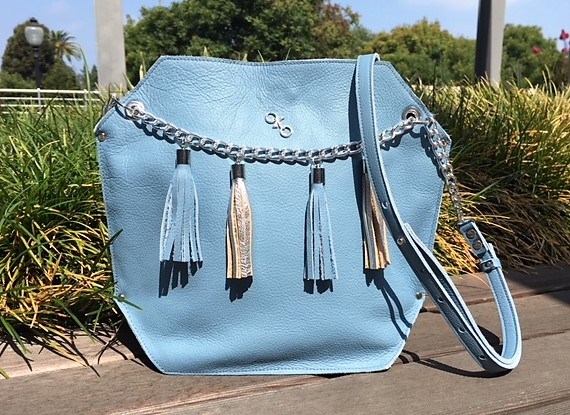 OKOhandbags-Urban Chic shoulder bag with chains-blue tassels