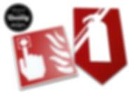 Πινακίδες πυρασφάλειας από plexiglass 3mm με κοπτικά αυτοκόλλητα βινυλίου. Στήριξη με ταινία διπλής όψης.