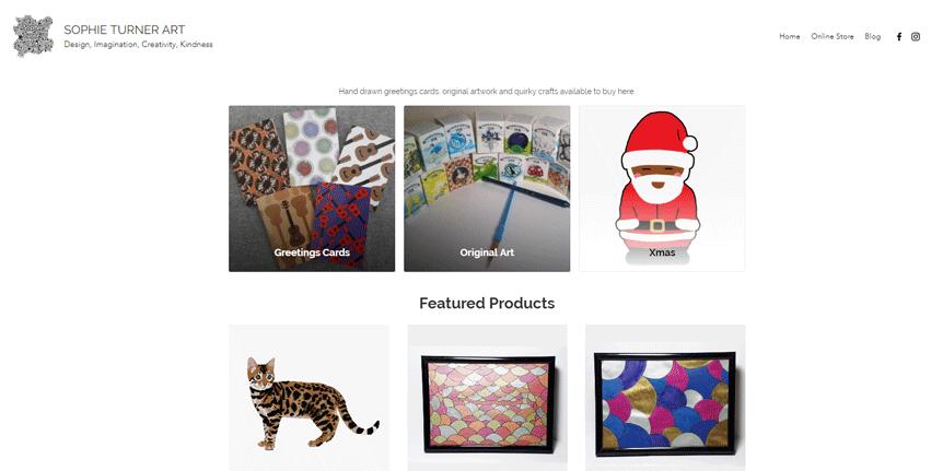 Screen grab of online shop.