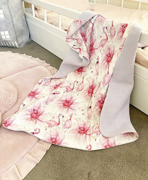Flamingo Peony Reversible Blanket