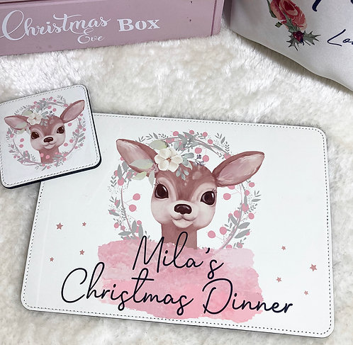 Personalised Christmas Placemat & Coaster Set