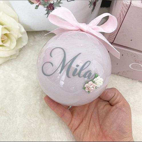 Personalised Pink Floral Bauble - 2020