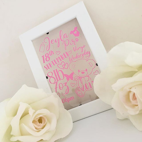 Small Personalised Baby Frame