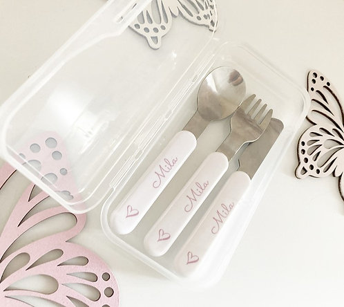 Personalised Kids Cutlery set with case.