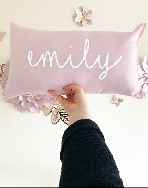 Blush Pink Personalised Rectangle Cushion