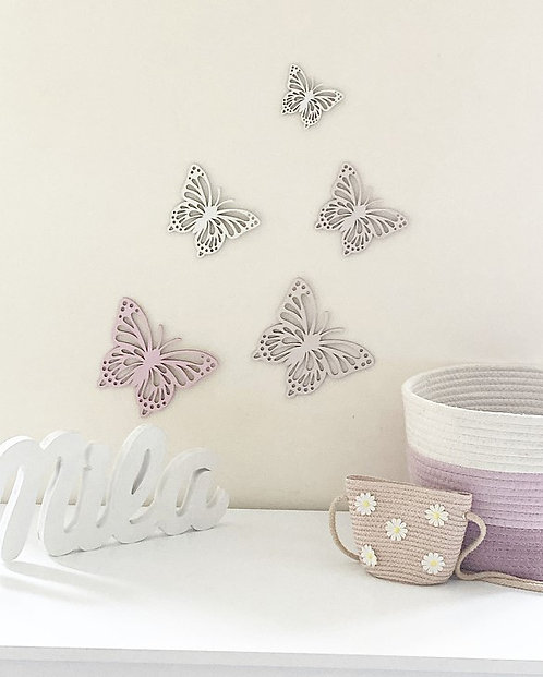 Wooden Butterfly Wall Decal Set