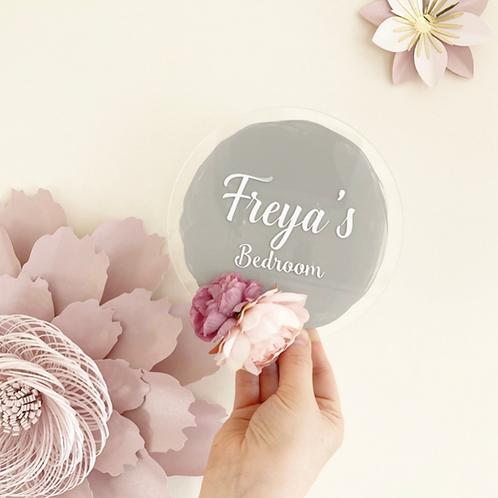 Personalised Floral Bedroom Sign- Grey