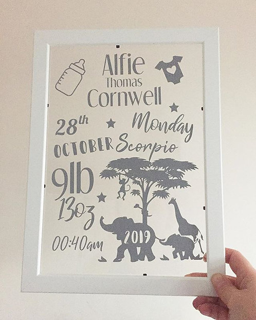 Large Personalised Baby Frame