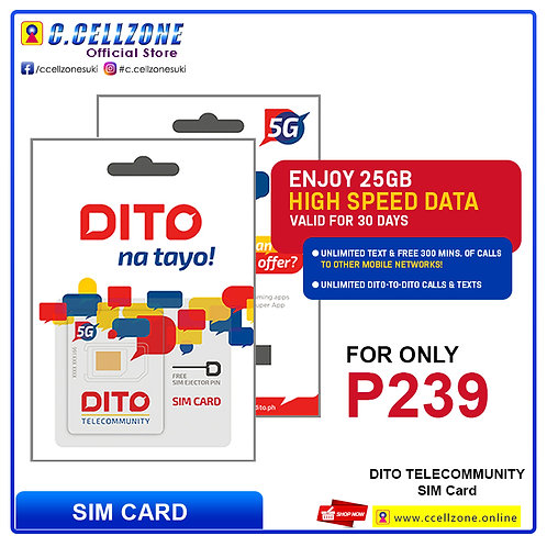 DITO SIMCARD ENJOY 25GB HIGH SPEED DATA VALID FOR 30 DAYS