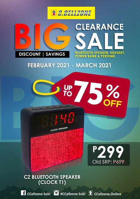CZ Trendy Bluetooth Speaker Clock T1( BTS TRS CZ CLOCK T1 C1018)