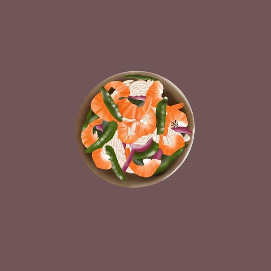 Illustration wok de légumes