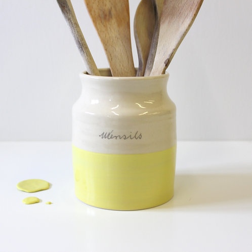 Small Utensil Holder - Lemon Yellow