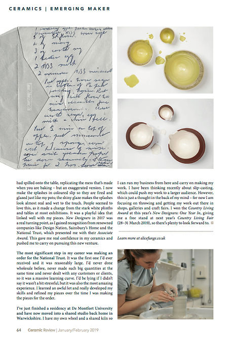 2. EMERGING MAKER Ceramic Review 295 Jan