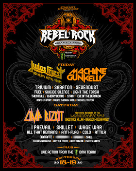 """FLORIDA'S NEWEST ROCK FESTIVAL """"REBEL ROCK FEST"""" PRESENTED BY MONSTER ENERGY HITS HARD SEPTEMBER 24-26th 2021 AT THE ORLANDO AMPHITHEATER AT CENTRAL FLORIDA FAIRGROUNDS  FEATURING MEMBERS OF THE LEGENDARY WU-TANG CLAN AND MACHINE GUN KELLY JUST ANNOUNCED AS FINAL HEADLINERS"""