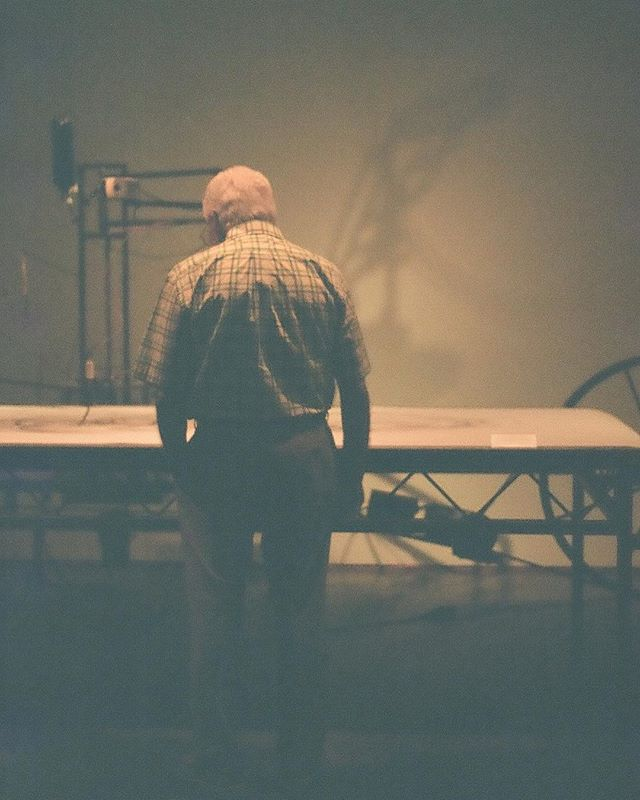 a man observing _hosshaley 's drawing machine at _thebechtler last week during Bechtler By Night #35