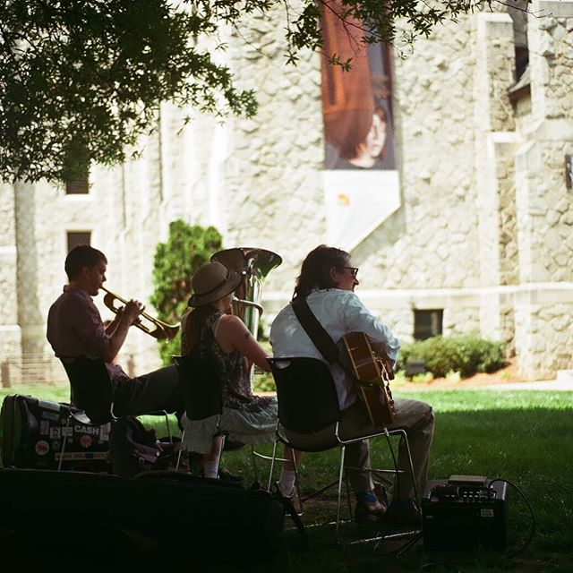 Fat Face Trio playing outside McColl Center's Open Studio last Saturday #filmphotography #35mm #hann
