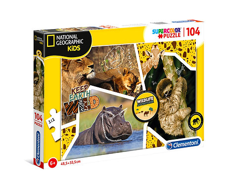 Clementoni National Geographic Kids 104Pc Puzzle Wildlife Adventurer