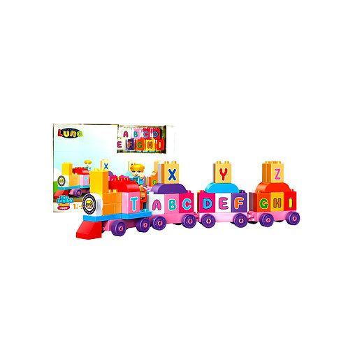 Τρένο με τουβλάκια με γράμματα του αγγλικού αλφάβητου Luna