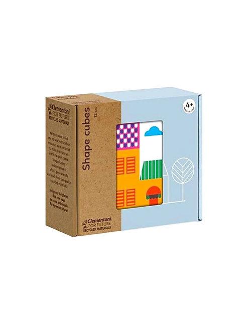 Clementoni Shapes Cubes Puzzle Eco Παζλ Κύβοι Σπίτια 12 Τεμαχίων