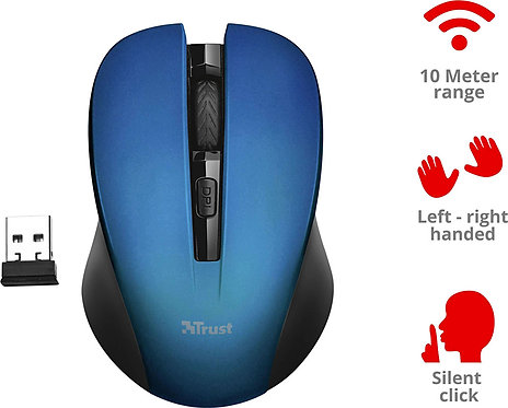 TRUST WIRELESS MOUSE MYDO SILENT CLICK BLUE