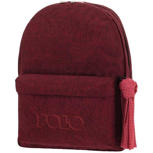 Τσάντα σχολική Polo double scarf jean μπορντώ
