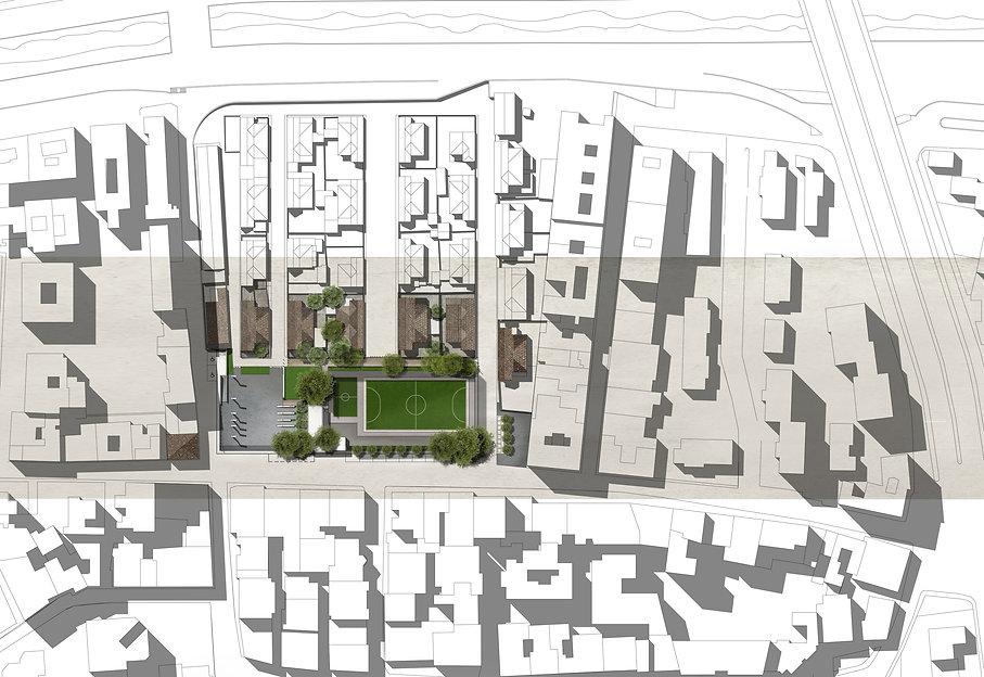 Concorso di idee Piazzetta Borgata Giardini. RC. Planivolumetrico