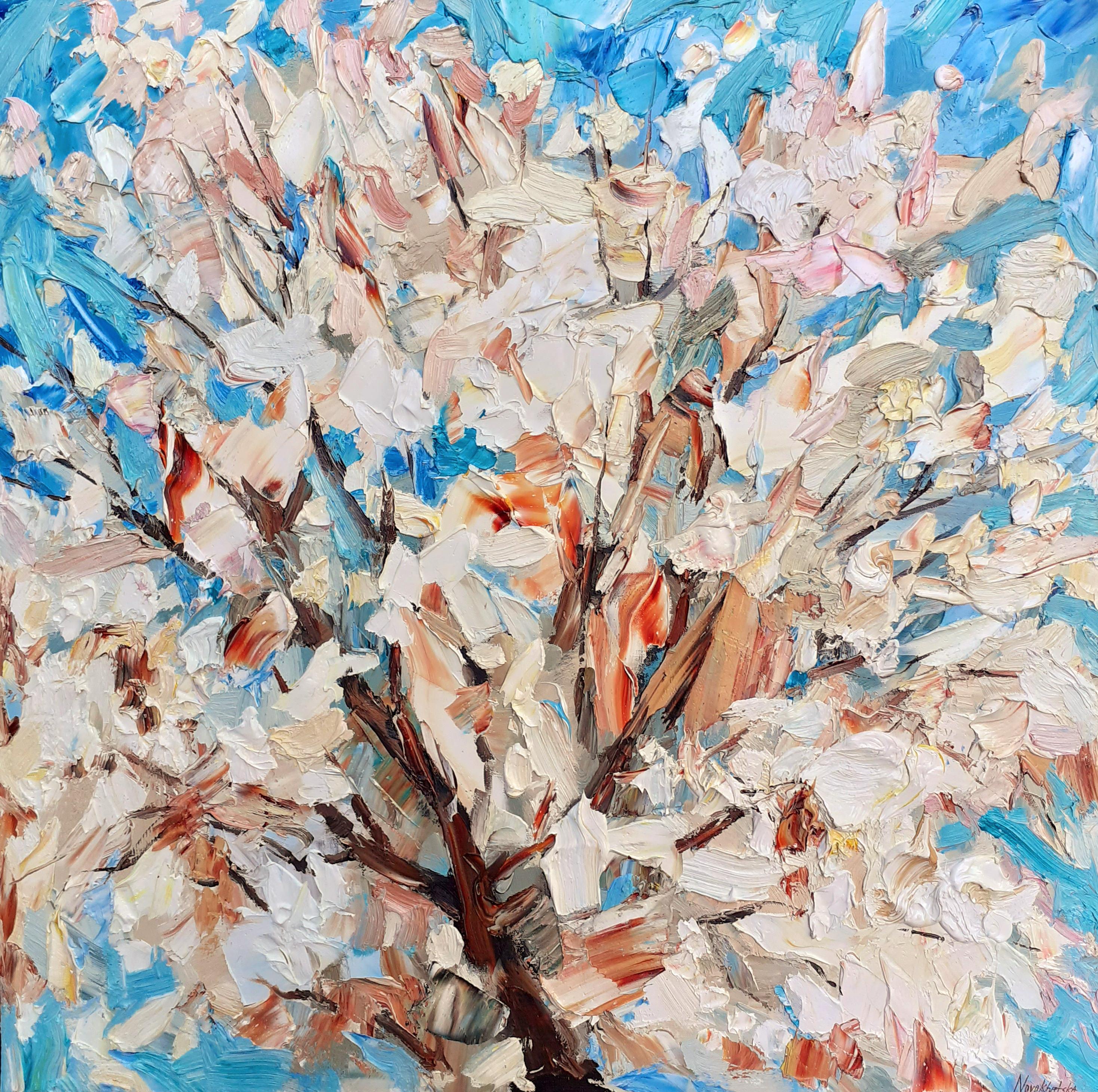Arbre en fleurs, 80x80 cm