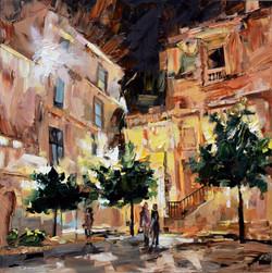 Un soir en Sicile, 80x80 cm, huile sur t