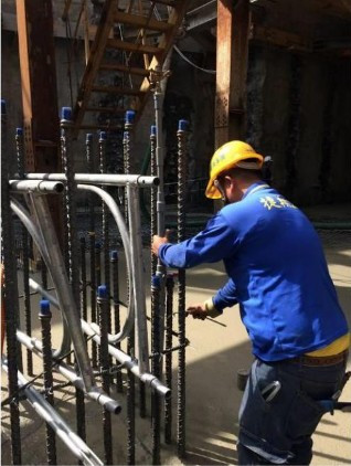 B3F 底板 RC 養護用灑水器施作